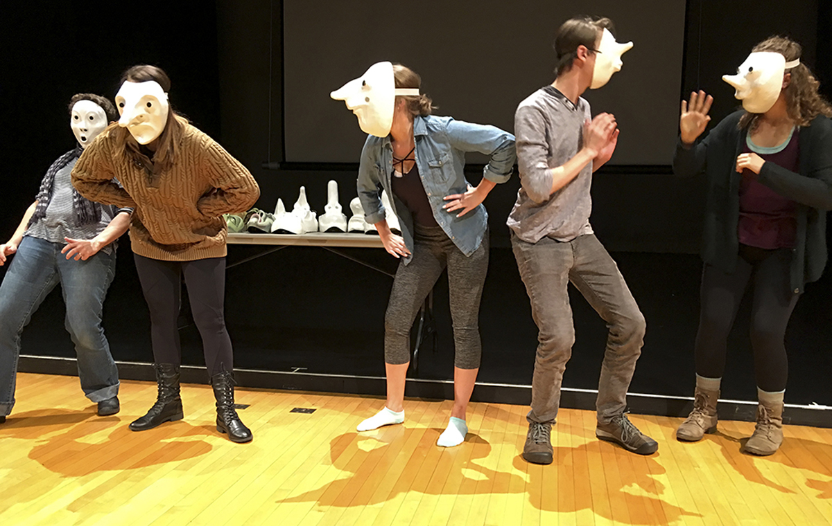 Group class performance - gesturing with masks