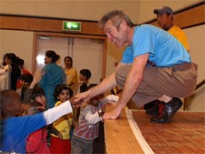 School assemblies - Jacob Mills shaking hands a